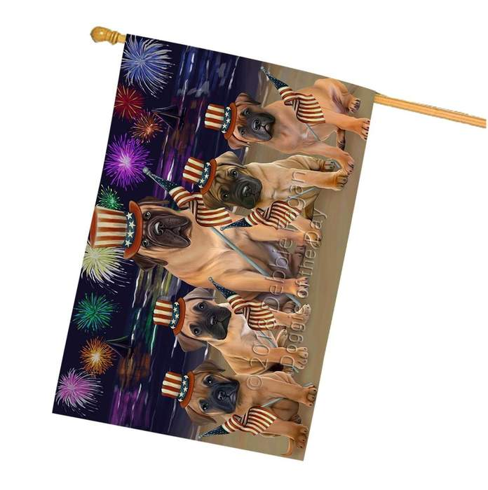 4th of July Independence Day Firework Bullmastiffs Dog House Flag FLG48824