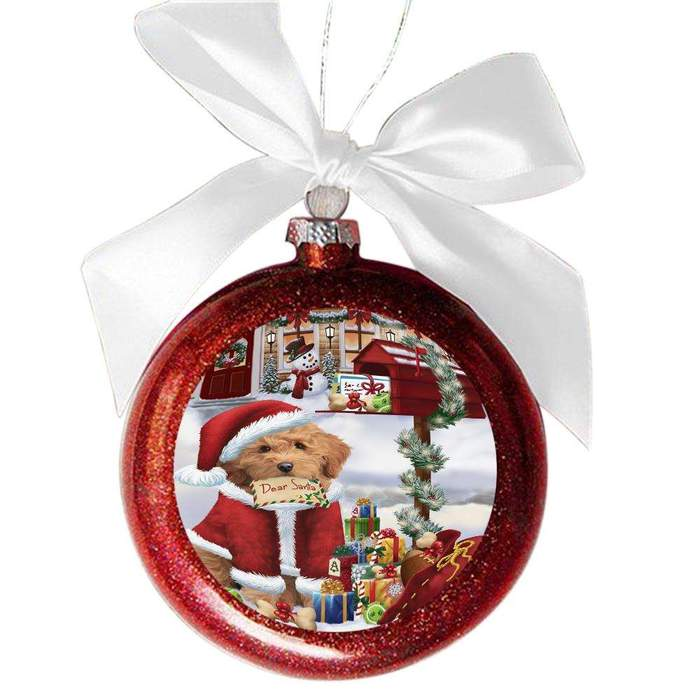 Goldendoodle Dog Dear Santa Letter Christmas Holiday Mailbox Red Round Ball Christmas Ornament RBSOR49048