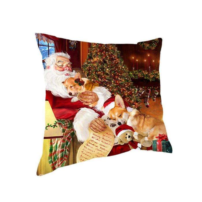 Happy Holidays with Santa Sleeping with Corgi Dogs Christmas Pillow