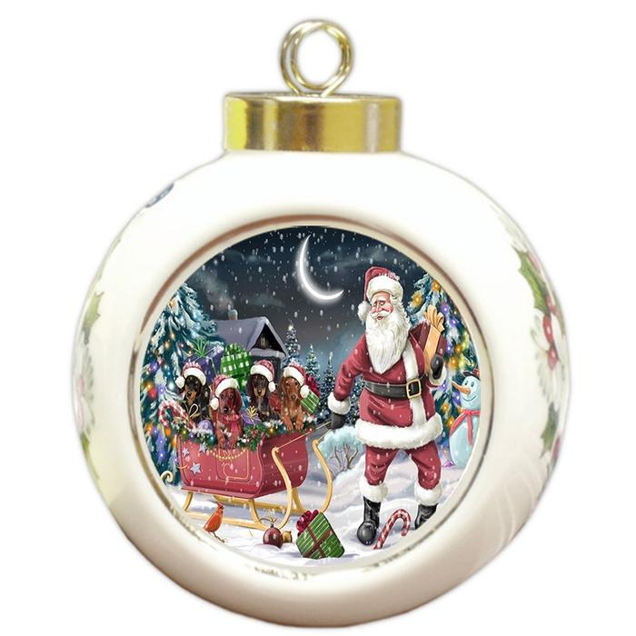 Santa Sled Dogs Dachshund Christmas Round Ball Ornament POR981