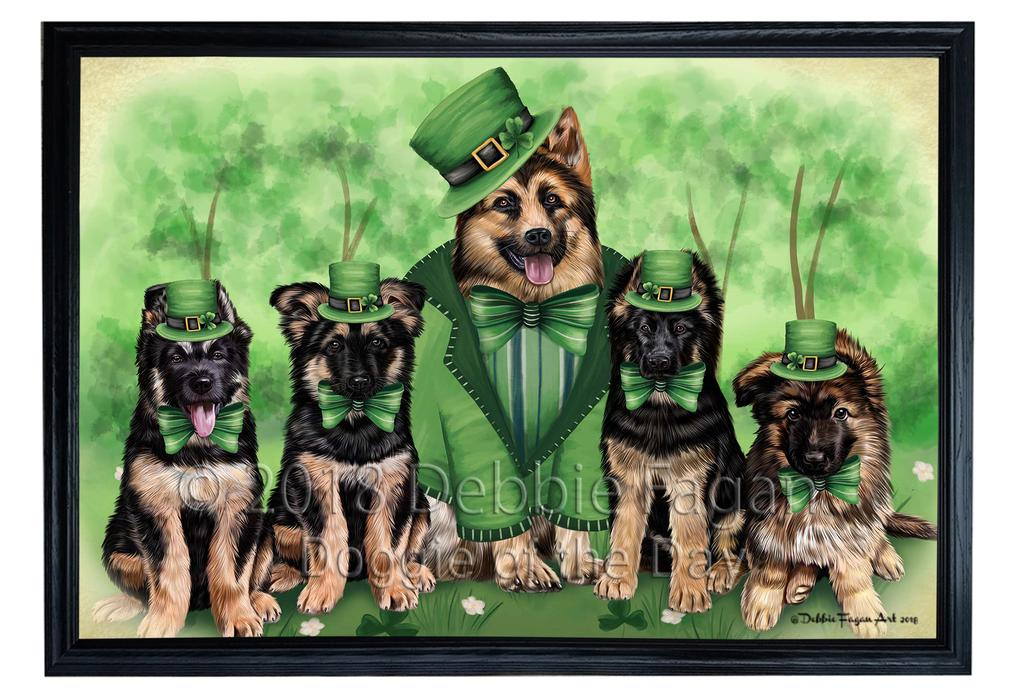 St. Patricks Day Irish Family Portrait German Shepherds Dog Framed Canvas Print Wall Art