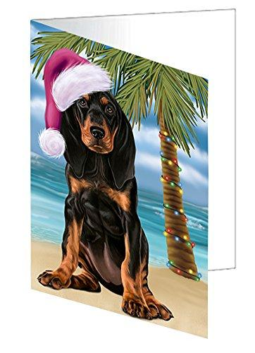 Summertime Christmas Happy Holidays Coonhound Dog on Beach Greeting Card GCD3125